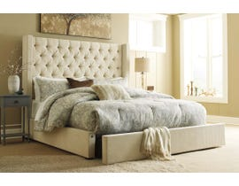 Signature Design by Ashley Norrister Collection Upholstered Bed with Storage in Beige B599