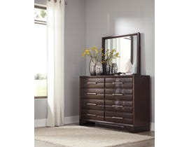 Ashley Andriel Collection Dresser and Mirror Set in Dark Coffee Brown B609