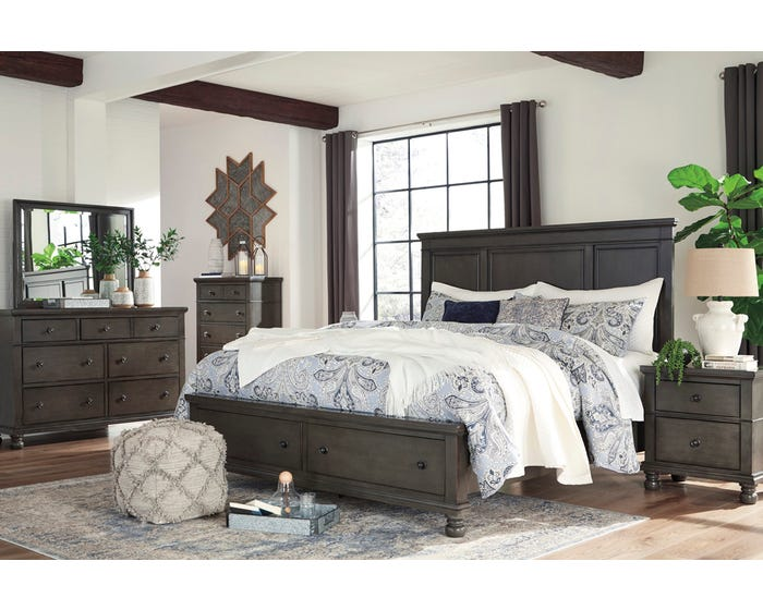Ashley Devensted Collection 6 Piece King Storage Bedroom Set in Antique  Gray B624