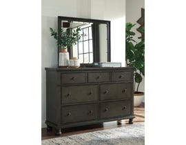 Signature Design by Ashley Benchcraft Collection Wood Dresser and Mirror in Dark Gray B624B1