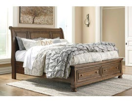 Signature Design by Ashley Flynnter Sleigh Storage Bed in Tobacco Brown B719
