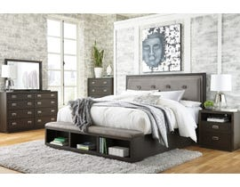 Signature Design by Ashley Hyndell Upholstered Storage Bedroom Set in Dark Espresso B731