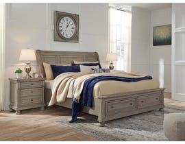 Signature Design by Ashley Lettner Sleigh Storage Bed in Light Gray B733