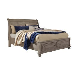 Signature Design by Ashley Queen Sleigh Bed with Storage in Light Gray B733B3