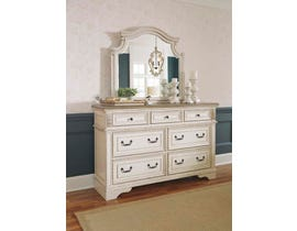 Signature Design by Ashley Dresser and Mirror in Chipped White B743B1