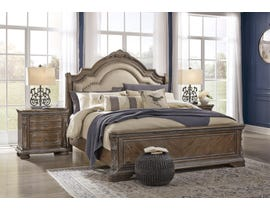 Signature Design by Ashley Charmond Upholstered Sleigh Bed in Brown B803