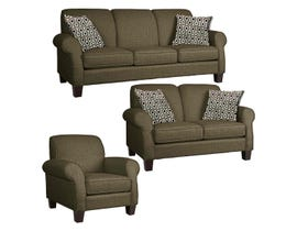 Décor-Rest Joey Sky Collection Fabric 3Pc Sofa Set in Balance Espresso/Polly Navy 2025