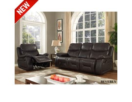 Beverly 3-Piece Leather Reclining Living Room Set in Dark Brown