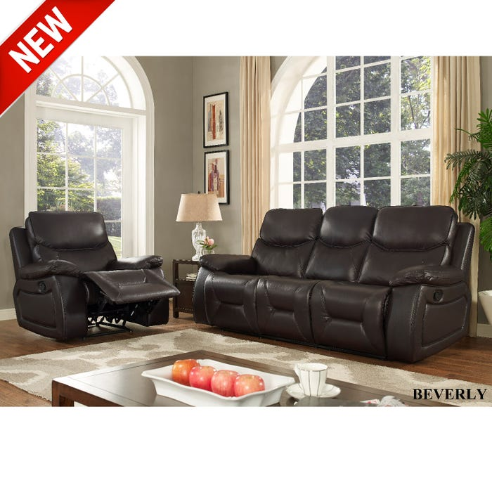 Outstanding Beverly 3 Piece Leather Gel Reclining Sofa Set In Chocolate Brown Home Remodeling Inspirations Basidirectenergyitoicom