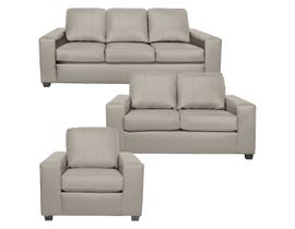 A-Class 3Pc Leather Sofa Set in Bisque 1290