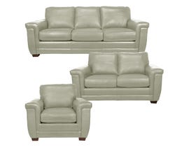 SBF Upholstery Zurick Collection 3Pc Leather Sofa Set in Bisque 4395