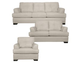 SBF Upholstery Zurick Series 3pc Leather Match Sofa Set in Zurick Ice 4145