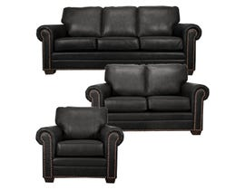 SBF Upholstery Leather Match 3-Piece Sofa Set in Black 7557