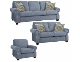 Decor-Rest Rico Collection 3Pc Fabric Sofa Set in Bombshell Sky/Freshwater Sky 2279