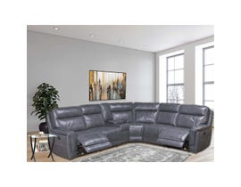 Chilliwack Leatheraire Power Reclining Sectional in Grey LAG