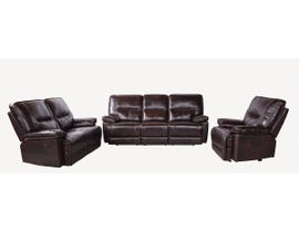 Flair Bradstreet Collection Leather 3Pc Power Reclining Sofa Set in Grape