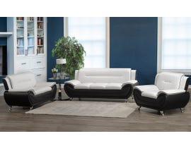 Brassex Riley Series 3pc Sofa Set in Black/White  2220-13-WB