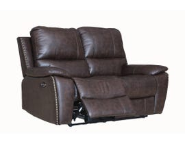 Fresh Brent Series Leather Air Power Reclining Loveseat in Chocolate