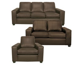 A-Class 3Pc Leather Sofa Set in Brown 1290
