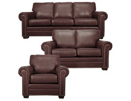 SBF Upholstery Leather Match 3-Piece Sofa Set in Brown 7557