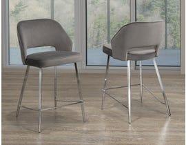 Ella Series Velvet Counter Stool in Grey (Set of 2) C-1205H-1 GR