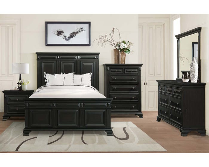 Calloway 6-Piece Wood King Bedroom Set in Black