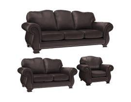 Decor-Rest 3pc Leather Sofa Set in Campania Chestnut 3933