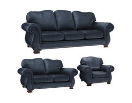 Decor-Rest 3pc Leather Sofa Set in Campania Navy 3933