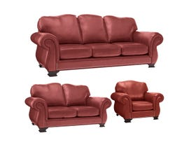 Decor-Rest 3pc Leather Sofa Set in Campania Red 3933