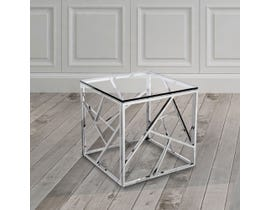 Geo Collection Metal End Table in Silver 2051214