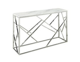 Geo Collection Metal Console Table with Marble Top in Silver 2051214M