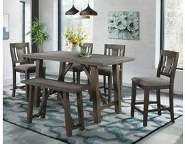 High Society Cash Collection 6 Piece Wood Counter Height Dining Set in Distressed Espresso DCS100