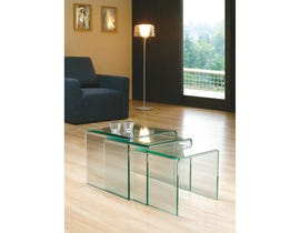 Brassex 3-piece Nesting Table Set Clear Bent Glass CB001-A