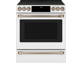 GE Cafe Slide-In Front Control Convection Range in Matte White CCES700P4MW2