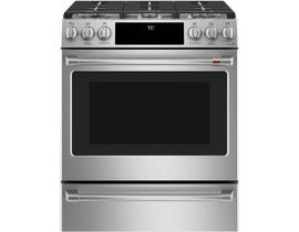 GE Café 30 inch 5.6 cu. ft. Slide-In Convection Front Control Gas Range in Stainless Steel CCGS700P2MS1