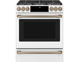GE Cafe Front Control Gas oven with Convention Range in Matte White CCGS700P4MW2