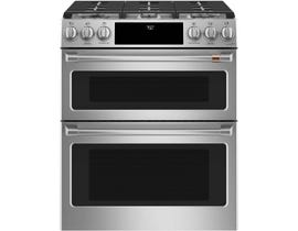 GE Café 30 inch 7.0 cu. ft. Slide-In Convection Front Control Double Oven Gas Range in Stainless Steel CCGS750P2MS1