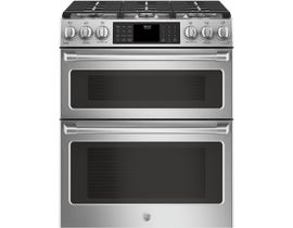 GE Cafe 30 Inch Slide-In Gas Double Oven Range in Stainless Steel CCGS995SELSS