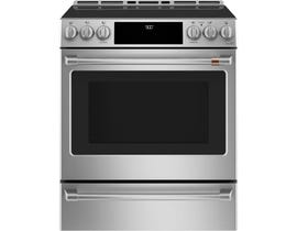 GE Café 30 inch 5.7 cu. ft. Slide-In Convection Front Control Induction Range with Warming Drawer in Stainless Steel CCHS900P2MS1