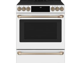 "GE Cafe 30"" Slide-In Induction and Convection Range in Matte White CCHS900P4MW2"