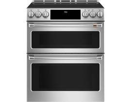 GE Café 30 inch 6.7 cu. ft. Slide-In Convection Front Control Double Oven Induction Range in Stainless Steel CCHS950P2MS1