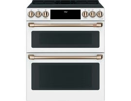 "Café™ 30"" 7 cu ft Slide-In Front Control Induction and Convection Double Oven Range CCHS950P4MW2"