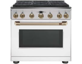 """GE Café 36"""" Gas Range with Self-Cleaning CGY366P4MW2"""