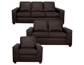 A-Class 3Pc Leather Sofa Set in Chocolate1290