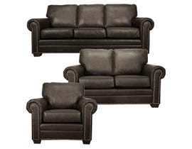 SBF Upholstery Leather Match 3-Piece Sofa Set in Chocolate 7557