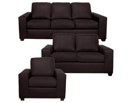 A-Class 3Pc Leather Sofa Set in Cranberry 1290