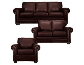 SBF Upholstery Leather Match 3-Piece Sofa Set in Cranberry 7557