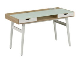 Brassex computer office desk with tempered glass top in light brown CT-3552