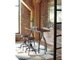 Signature Design by Ashley Odium Series 3pc Counter Table Set in Rustic Brown D284