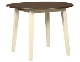 Signature Design by Ashley Woodanville Series Round Drop Leaf Table in Cream/Brown D335-15